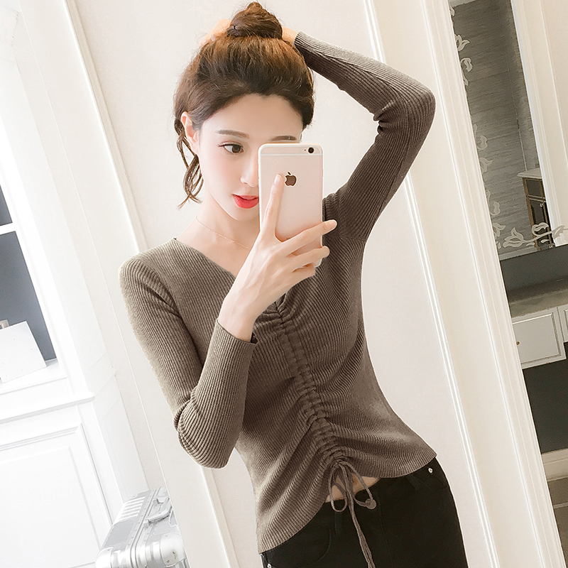 Autumn New Women Knitting Sweater 2018 Korea Fashion V neck Lacing Slim Long sleeve Pullover Winter Femme Clothing Tops in Pullovers from Women 39 s Clothing