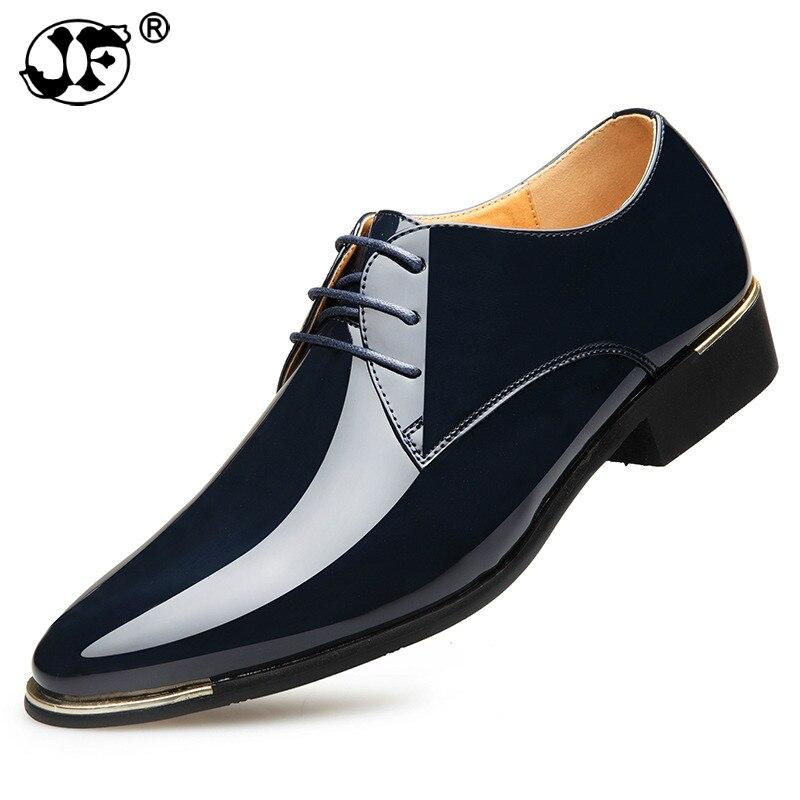 bbb42e127 Mens patente sapatos de couro homens se vestem sapatos lace up bico fino  festa de casamento Negócios 5 cores big size hjm90