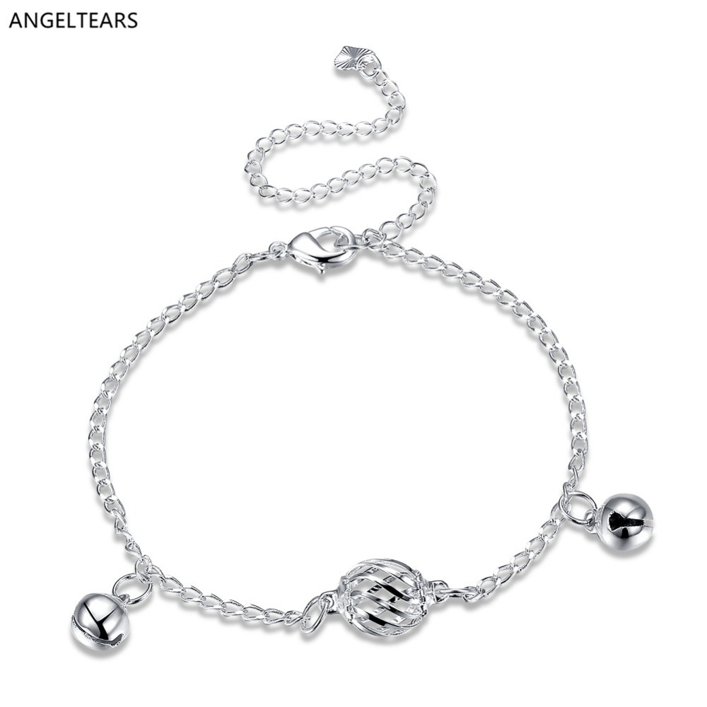 Silver color hollow ball bell anklet fashion woman & girl