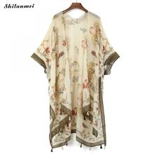 2019 Summer Kimono Cardigan Mujer Boho Beach Tassel Floral Shirt Womens Long Feminino Blouse Bohemian Top