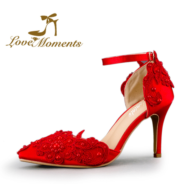 0533bb33154 Sandals High Heel Women Pumps Sexy Red Satin woman wedding shoes pointed-toe  Lace bridal pumps dress shoes mother of bride shoes