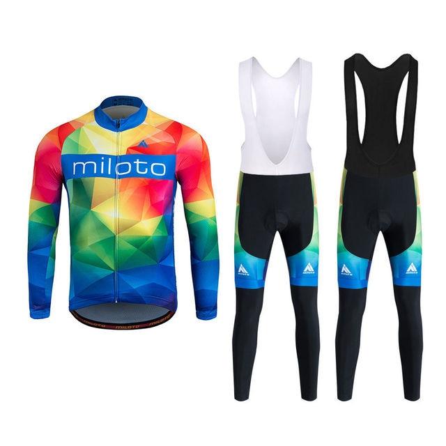 4b1af5399 Miloto Men s Cycling Clothing Bike Kit Reflective Long Sleeve Mountain Bike    Cycle Jersey   MTB Bib Tights   Trousers Set