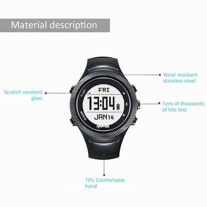 SUNROAD новые мужские часы с пульсом компас шагомер высотомер 5ATM водонепроницаемые цифровые зажимные спортивные часы Relogio - 6