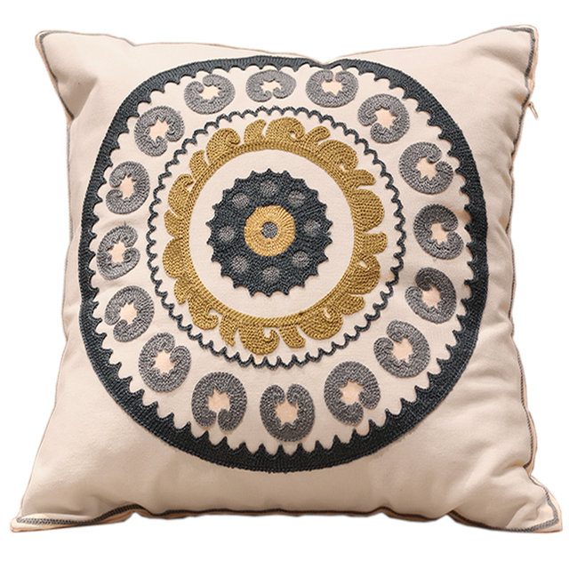 New Floral Designs 100% Cotton Embroidery Sofa Cushion Covers White Trendy  Thai Style Seat Cushion