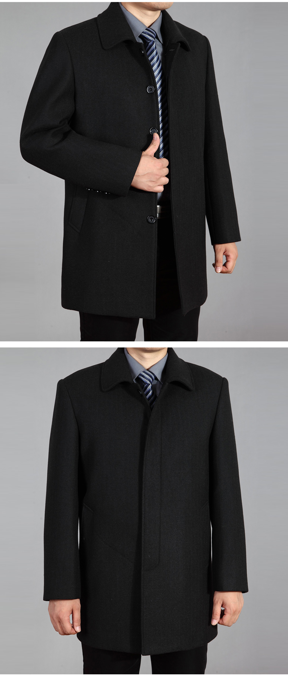 2020 High Quality Men Wool Coat Autumn Winter Overcoat Wool Woolen Jacket Male Pea Coat Men Winter Long Coat Homme Plus Size 7XL