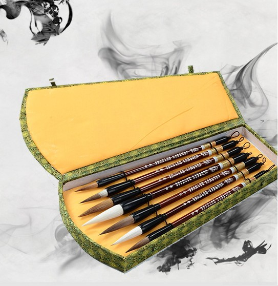 7 calligraphy brush weasel hair gift set traditional chinese painting calligraphy brush ,Brush, painting tools traditional chinese water lily painting pattern square shape pillowcase