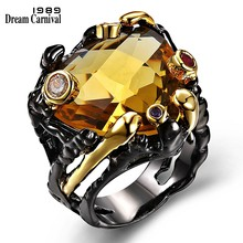 DC1989 New Arrival Jewelry Black Gold Plated Main Topaz Multi Cubic Zirconia Lead Free Evening cocktail ring for women (ZR14173)(China)