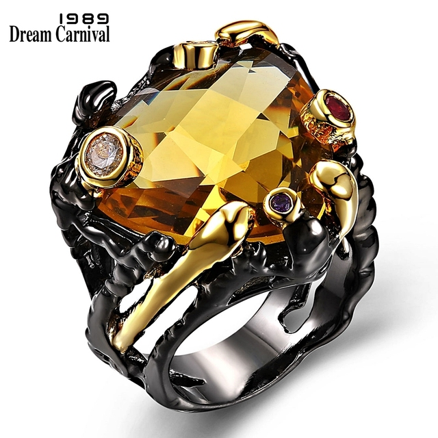 DreamCarnival 1989 Vintage Black Gold Rings for Women Big Light Brown Color CZ Z