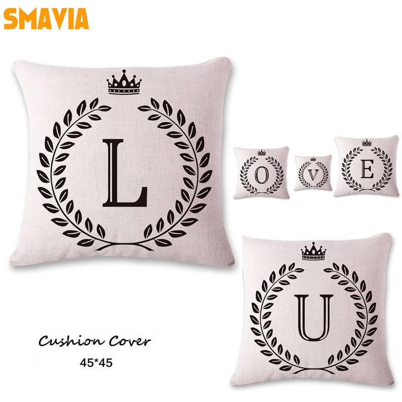 SMAVIA Creative Single Letters Cushion Covers Spell Name/Love Pillowcase Car/ Chair/ Sofa Pillow Covers 45*45 cm/pc Home Decor