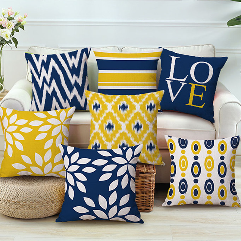 Blue Yellow Geometric Pillow Cover