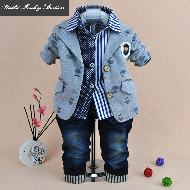 Baby Boy spring clothes set British style Jacket shirt Jeans pants three piece set baby boy clothes suit clothing for newborns baby set baby boy clothes 2 pieces