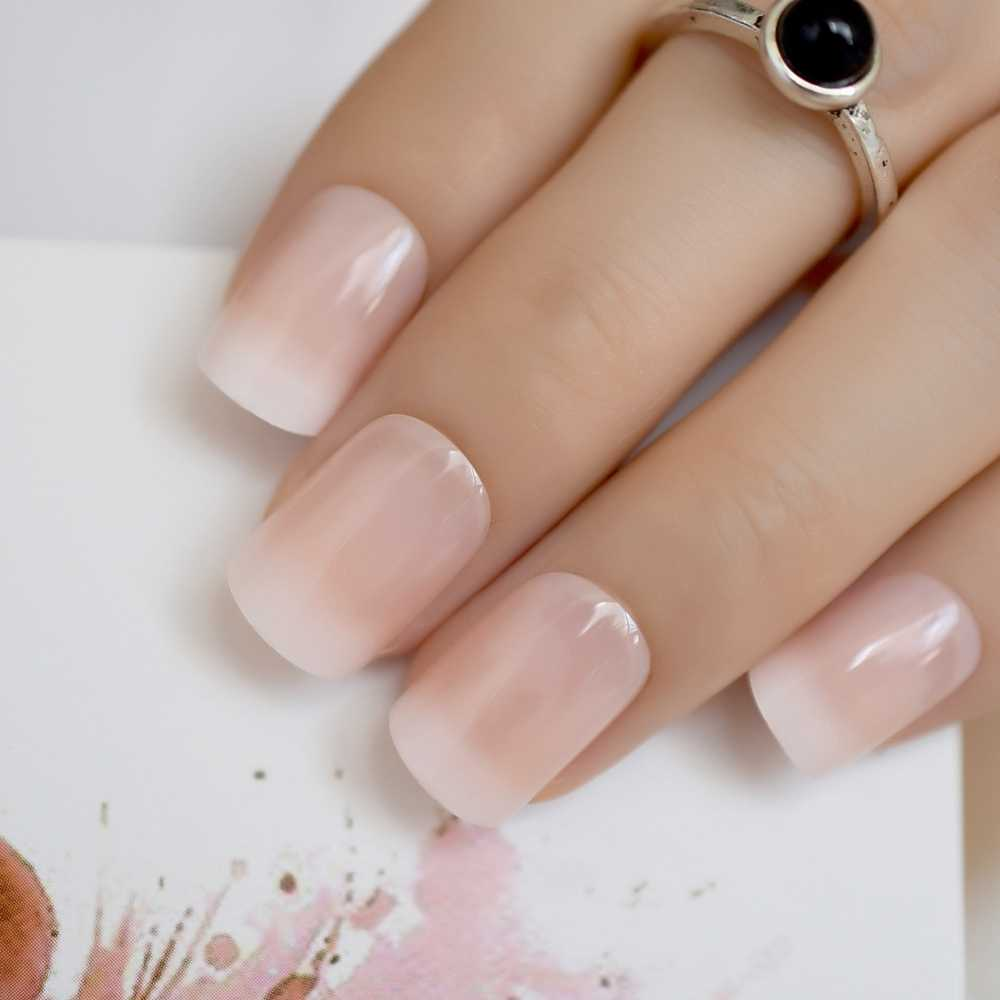 Beige Gradient French Manicure Tips Gorgeous and Classy Natural Fake Nails Faded Nails Designed