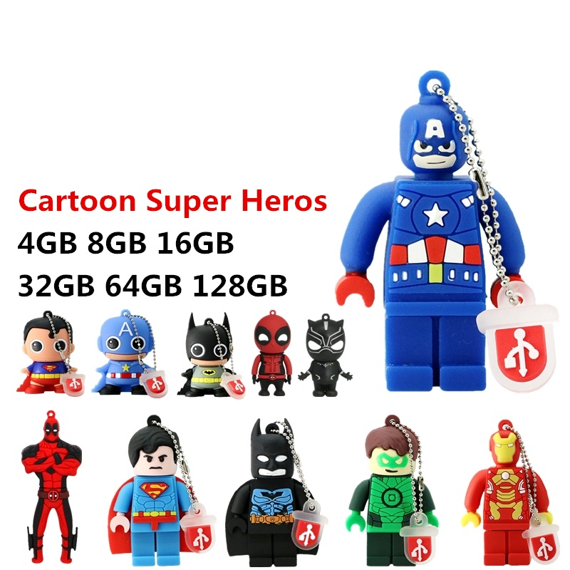 New Mini Cartoon Super Heros USB Flash Drive 128GB 64GB 32GB PenDrive 16GB 8GB 4GB Batman Superman Pen Drive Flash Memory Stick