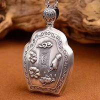 S999 six words of pure silver, heart, lotus, bergamot, sterling silver, antique pendant