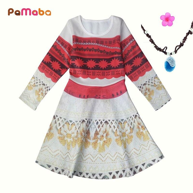 Vestidos Moda Para Manga Moana Niños Niñas Larga Traje Vaiana De Princesa PX8nOw0k