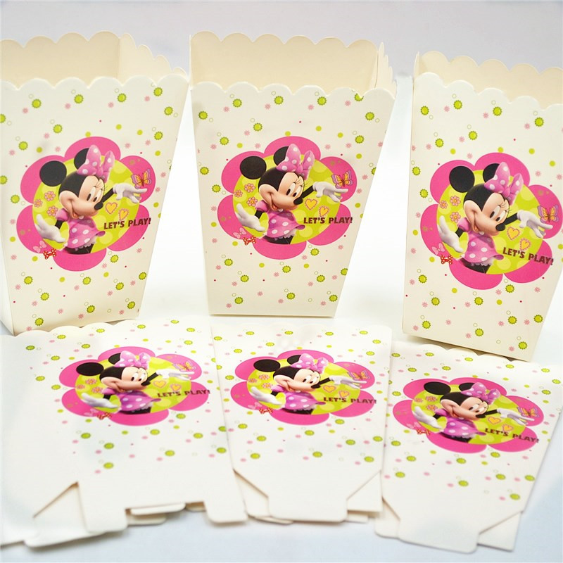 minnie mouse Party Decorations Flags Tablecloth Straws Cups Plates Candy Popcorn Box Party Supplies Kid minnie mouse Birthday