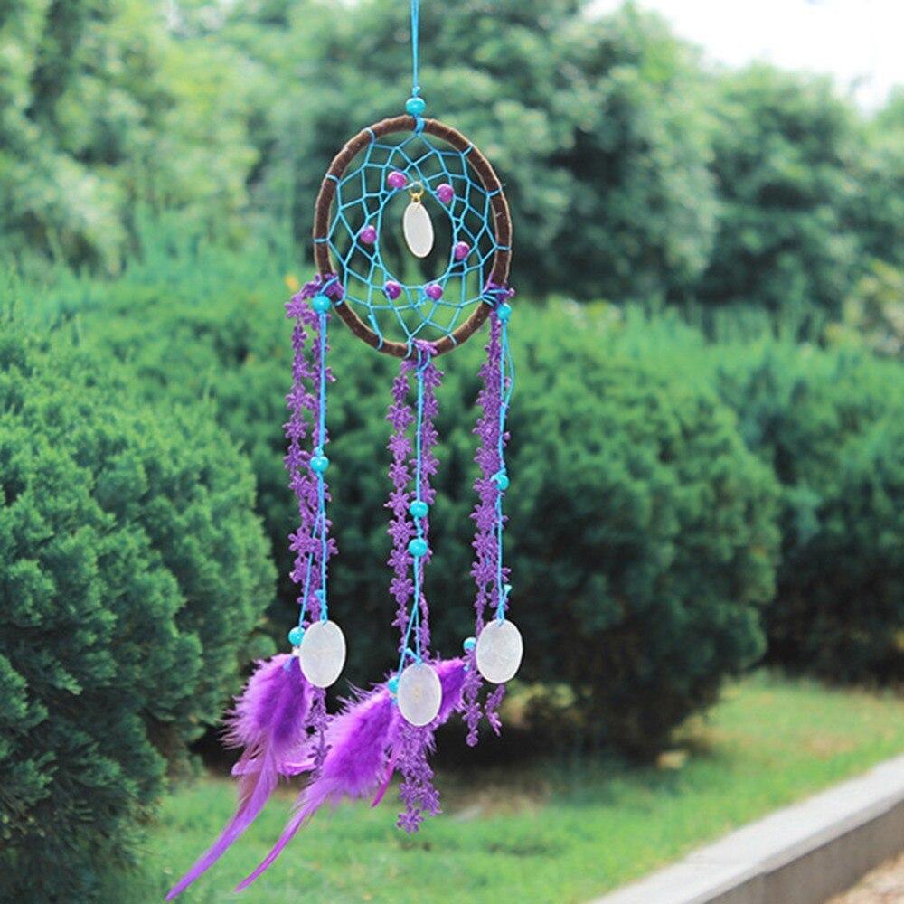 Handicraft Beautiful Purple Feather Pendant Dream Catcher Wind Bells Gift #269683