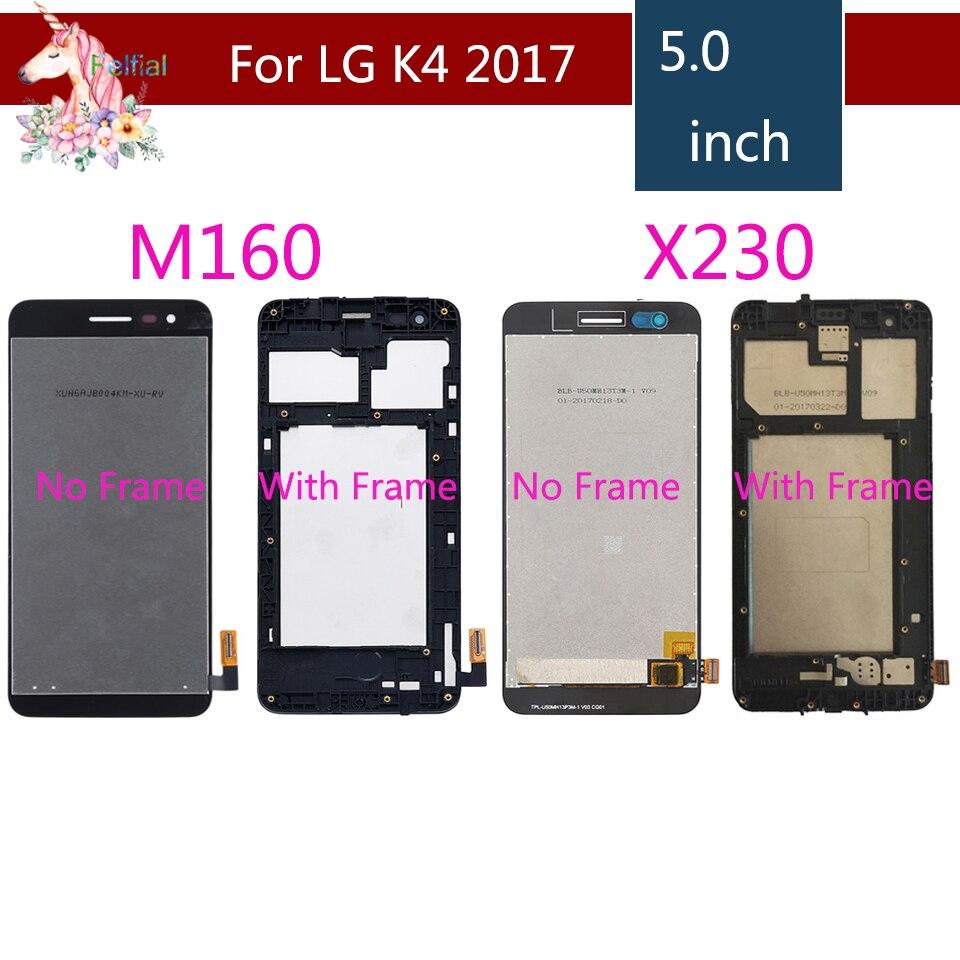 Для LG K4 2017 LCD M160 M150 lcd complete K4 2017X230 X230DSF Оригинальный ЖК дисплей кодирующий преобразователь сенсорного экрана в сборе с рамкой