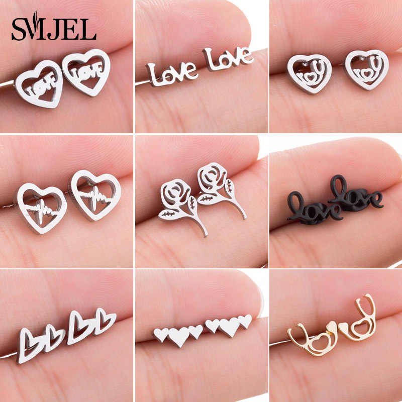 SMJEL Lovely Letter Stainless Steel Earrings Women New Geometric Love Heart Stud Earrings Jewelry Girlfriend Gift pendientes