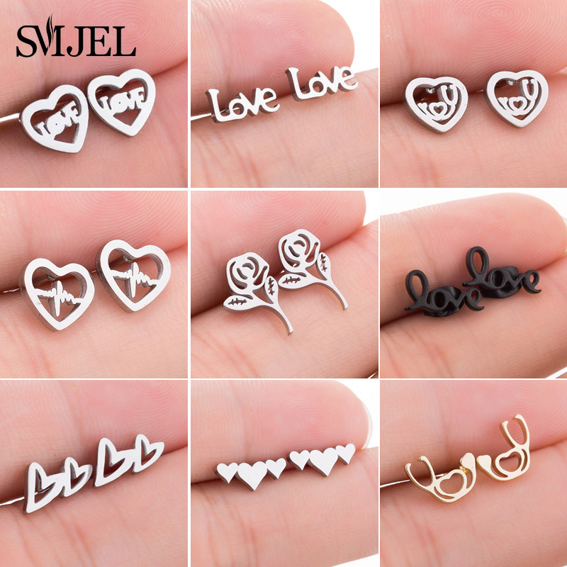 SMJEL Lovely Letter Stainless Steel Earrings Women New Geometric Love Heart Stud Earrings Jewelry Girlfriend Gift pendientes