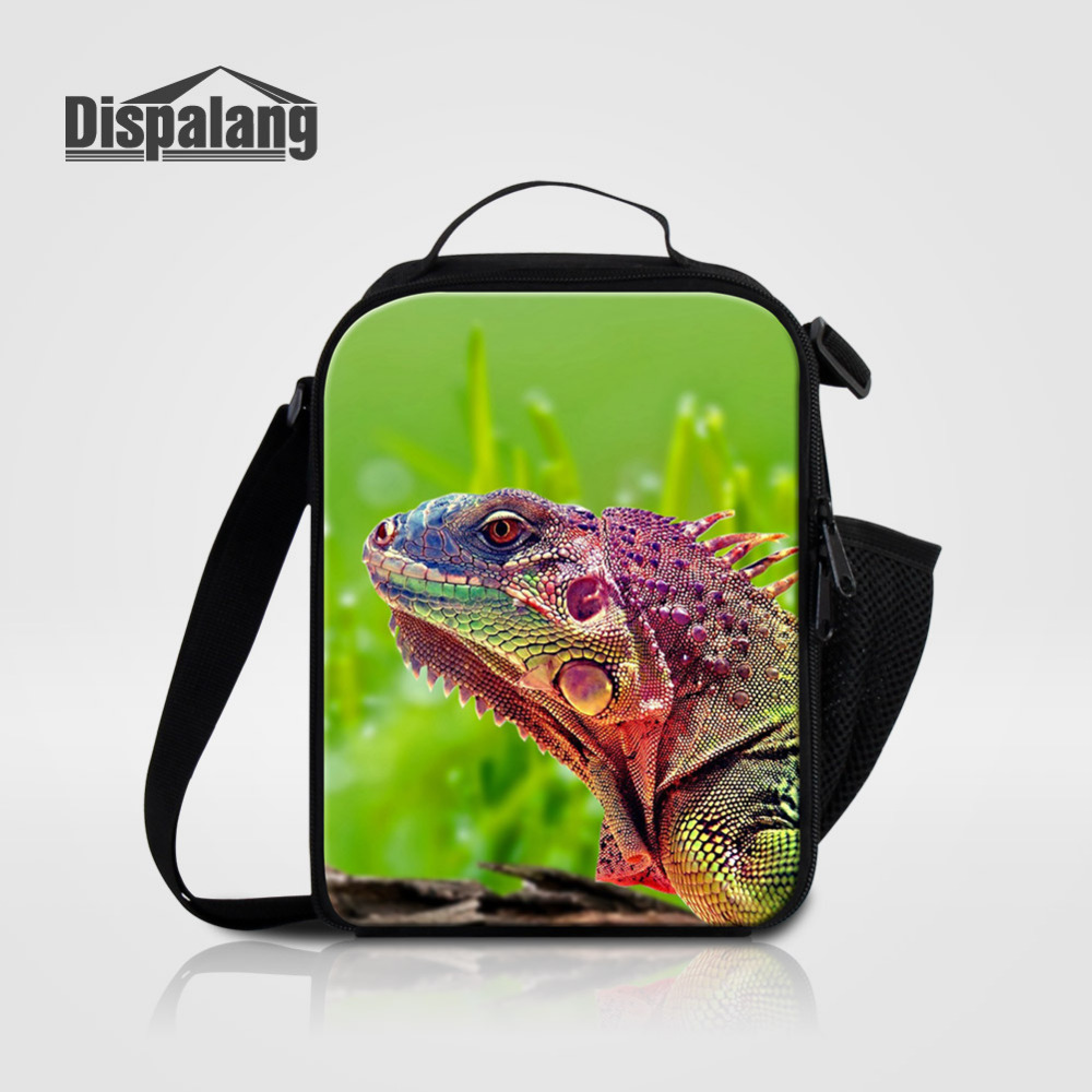 Dispalang Lunch Bags for Kids Animal Lizard Print Lunchbox Insulated Storage Container Picnic Cooler Bags Handbag Bolsa Termica