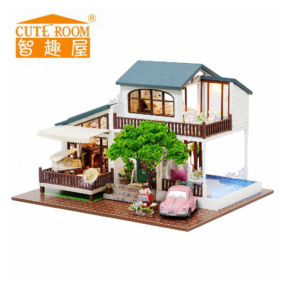 Furniture Diy Doll House Wooden Miniature Doll Houses Furniture Kit Puzzle Handmade Dollhouse Craft Toys For