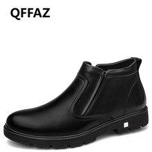 QFFAZ Men Boots Warm Plush men winter boots footwear mens black leather shoes Ankle Boots Business dress Cotton Inside Men Shoes