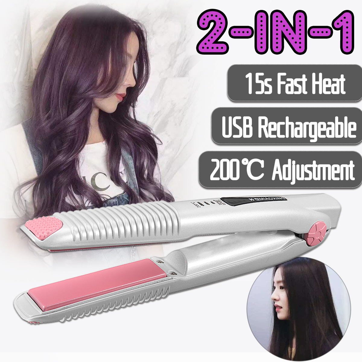 USB Rechargeable Curling Irons Professional Hair Curler Quality 2-in-1 Hair Curling & Straightening Iron Hair Styling Tools EU 3 in 1 straightening corrugated iron ceramic hair straightener and hair curler professional curling wand iron hair styling tools