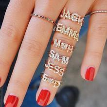 Gold filled minimal delicate jewelry women finger  name new letter 26 Alphabet Initial ring