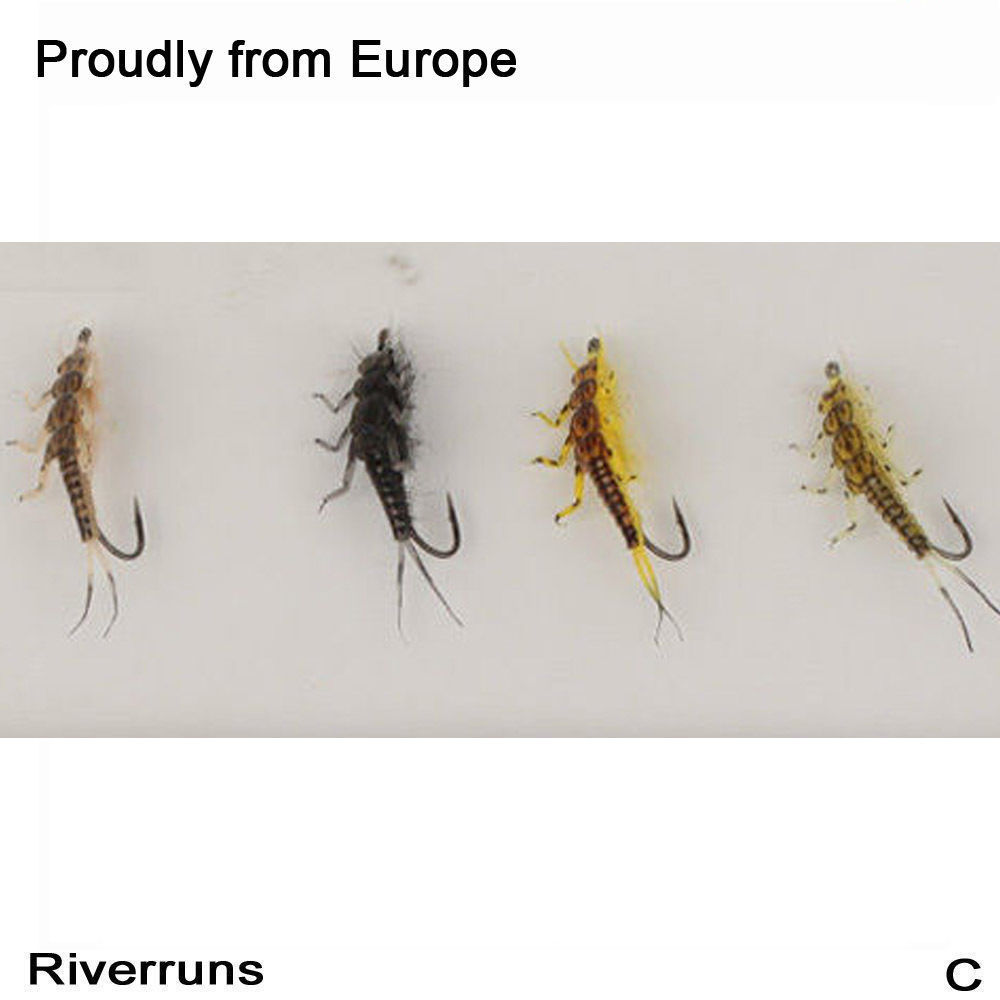 Riverruns Realistic Flies Stonefly Nymph Flies Assortment 4 Color With Fly Box winnie flies again