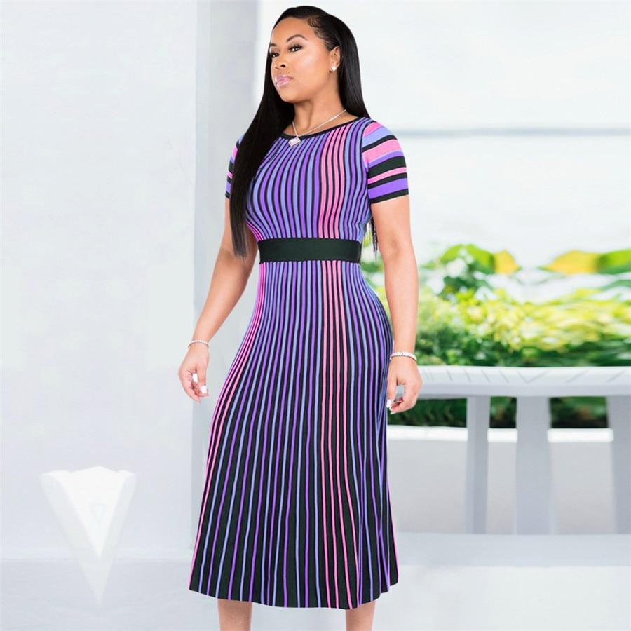 GuyuEra African Dresses For Women European Women's Dress Round Neck Lace Short-sleeved Mesh Lace Waist A Word Skirt (2)