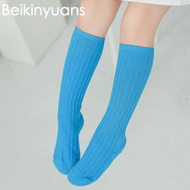 Kids-Knee-High-Socks-Sneeker-infantil-GirlsBoys-Cotton-South-Korea-new-Solid-Color-Double-Needle-Tube-socks-Knee-Sock-Girls-2