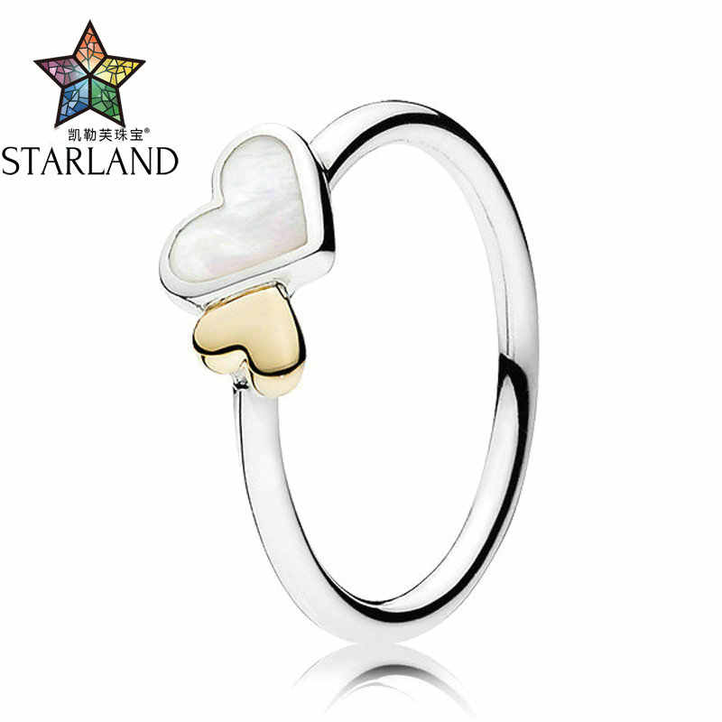 c66bb7abe Starland Fine Detail 100% Genuine 925 Sterling Silver 14K Gold Heart Shell Heart  Rings For