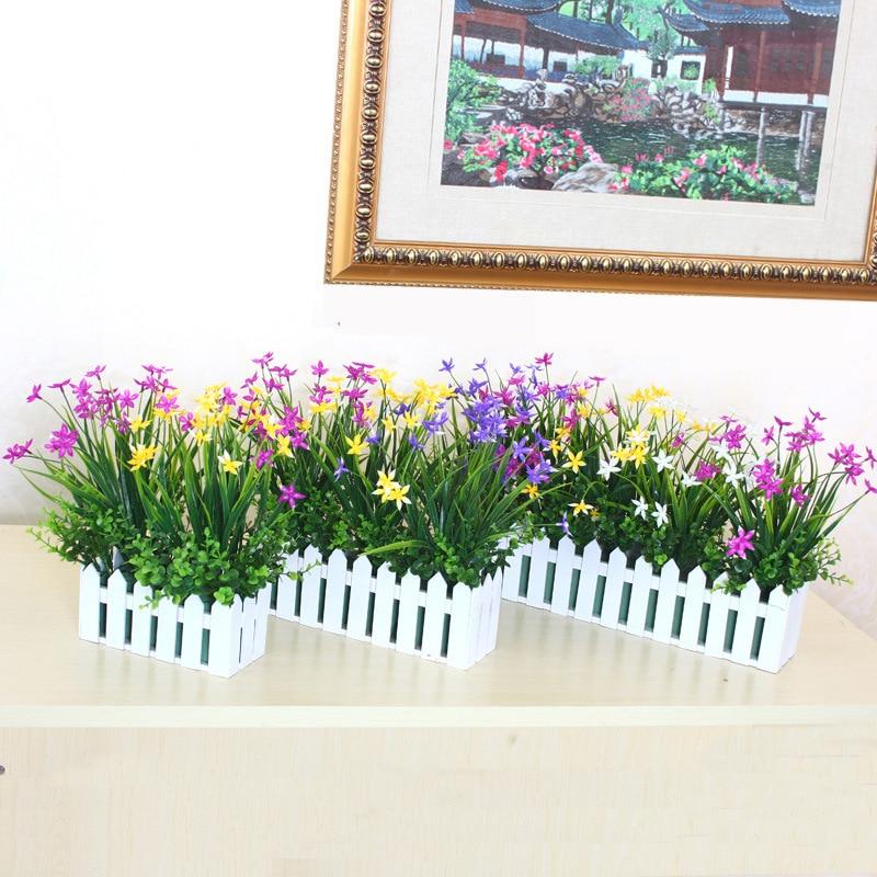 escritorio caja decorativa flor artificial y flores cm valla de