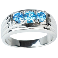 New Style 2015 3 Stone 925 Sterling Silver White Gold Finish Blue Topaz Finger Rings For
