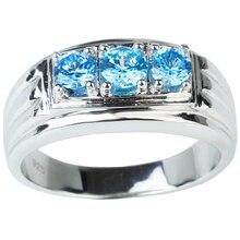 Стерлингового Серебра 925 Палец Кольцо для Мужчин с 3-камень Небесно-голубой Цирконий CZ Кристалл Ювелирные Изделия R519