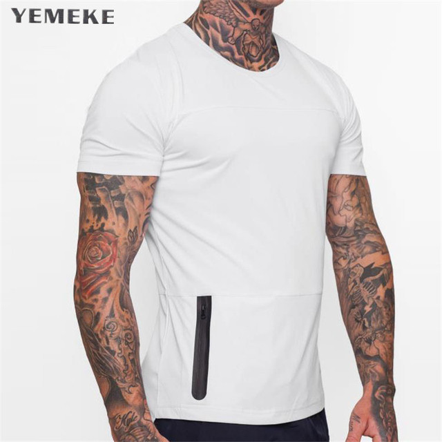 YEMEKE men Tight Fitting Short Sleeved T shirt Fitness Organization