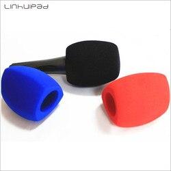 Linhuipad esponja microfone brisas espuma mic capa pára-brisas para microfone de mão entrevista microfone capa 3 cores