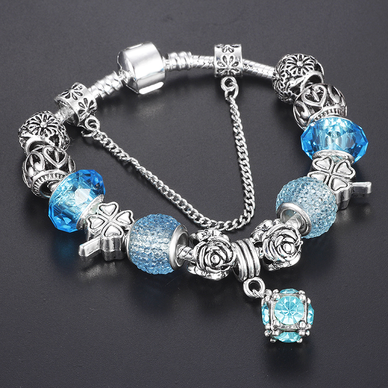 2017 Antique Silver Crystal Charm Bracelet for Women With Clover Beads Fits Pandora Bracelets&Bangles Pulseras DIY Jewelry