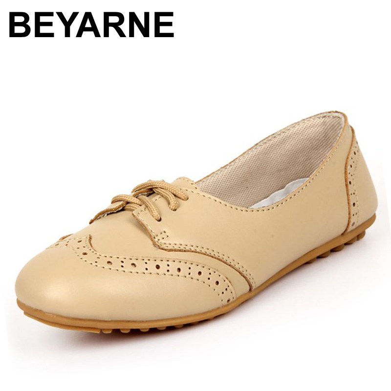 BEYARNE New Genuine Leather Shoes Woman Flat Tenis Feminimo Women's Flats Sapatos Femininos Zapatos Mujer Vintage White Shose 2017 spring genuine leather sheepskin shoes womens black white comfortable woman flat boat shoes buckle strap zapatos mujer 002k