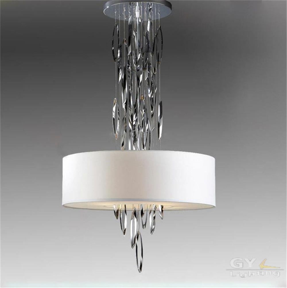 Art design moderne led lustre lustres tissu abat jour lumiere suspendu luminaire en acier inoxydable