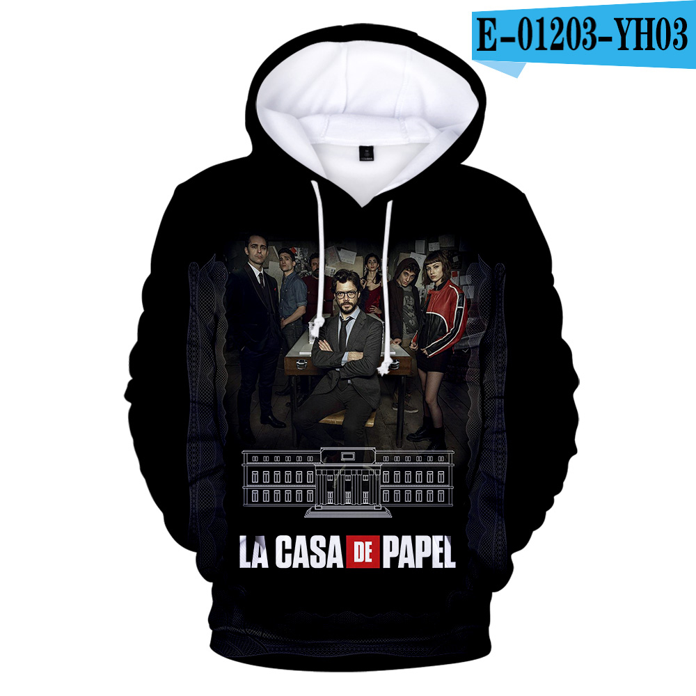 Hot Sale 3D Hoodies Sweatshirt Print TV Series La Casa De Papel Money Heist House Of Paper Men/Women Casual Loose Clothing