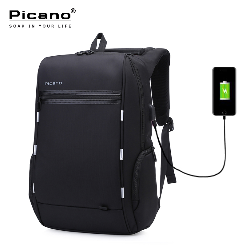 Picano Design Anti-theft Usb Charging Travel Backpack Smart Business Backpack Men Classic Black 15.6 Inch Laptop Backpack PCN036 bopai brand backpack usb charging backpack laptop shoulders anti theft usb backpack 15 inch laptop backpack men waterproof