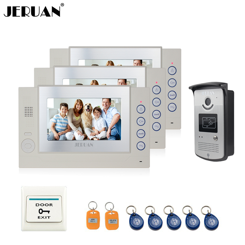JERUAN 7 inch video door phone intercom system video recording photo taking access control system RFID+Exit Button free shipping arslab classic 2 se black ash