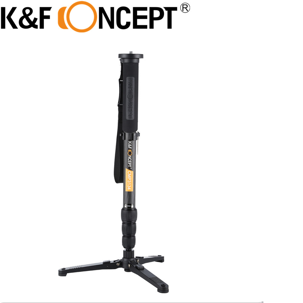 K&F CONCEPT High-end Carbon Fiber 1635mm Camera Monopod With Metal Locking Knob 3 Feet Support Unipod Holder For Tripod Holder opening 20 mm tripod with lamp red circle ship type switch kcd1 105 3 feet 2 file with lamp