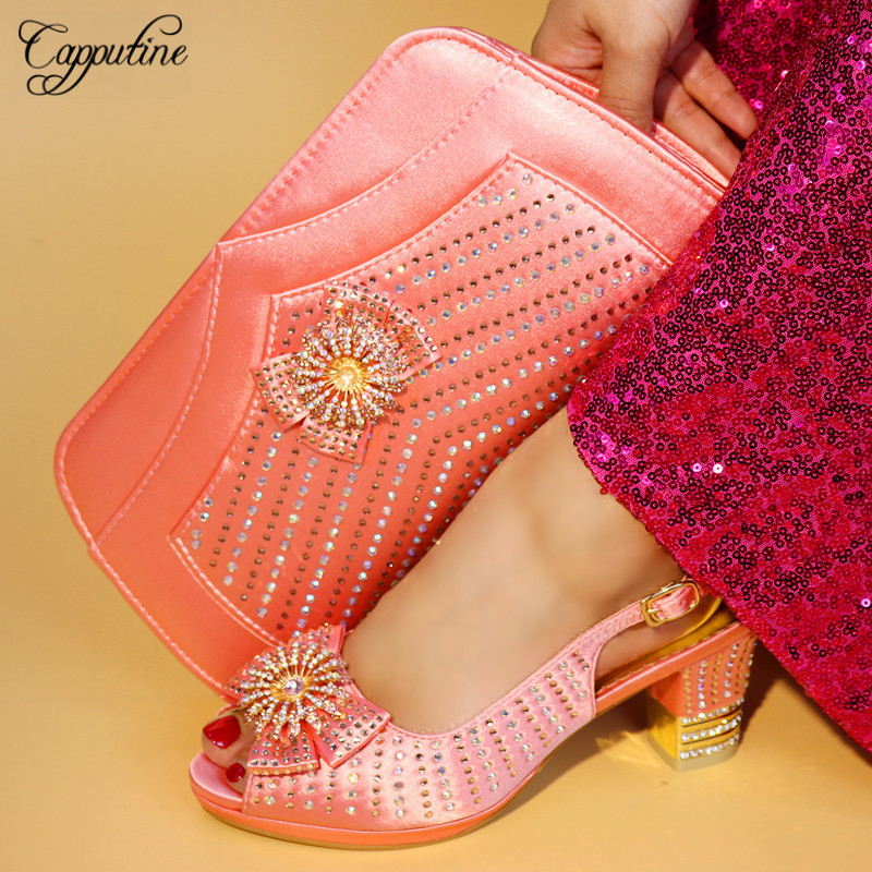 Capputine Nigerian Elegant Peach Color Shoes And Bag Set African High Heels Shoes With Bag For Wedding Summer Party Sandals Shoe