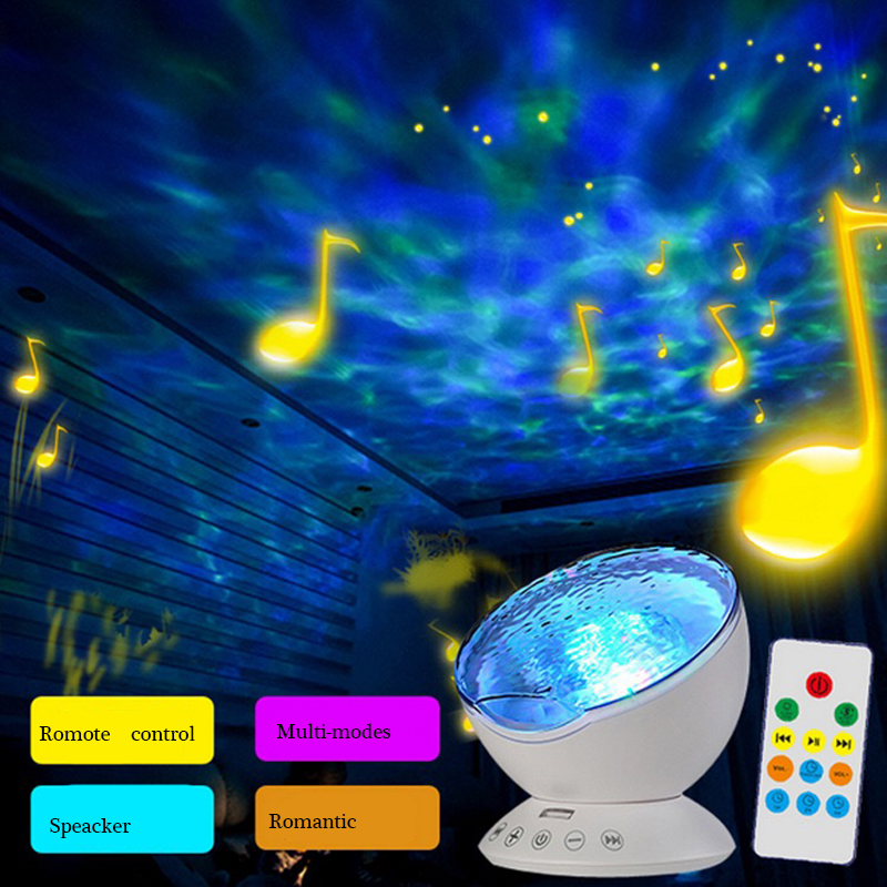 Amazing sensor touch remote control ocean projector led night light with music timer usb lamps - Remote control night light ...