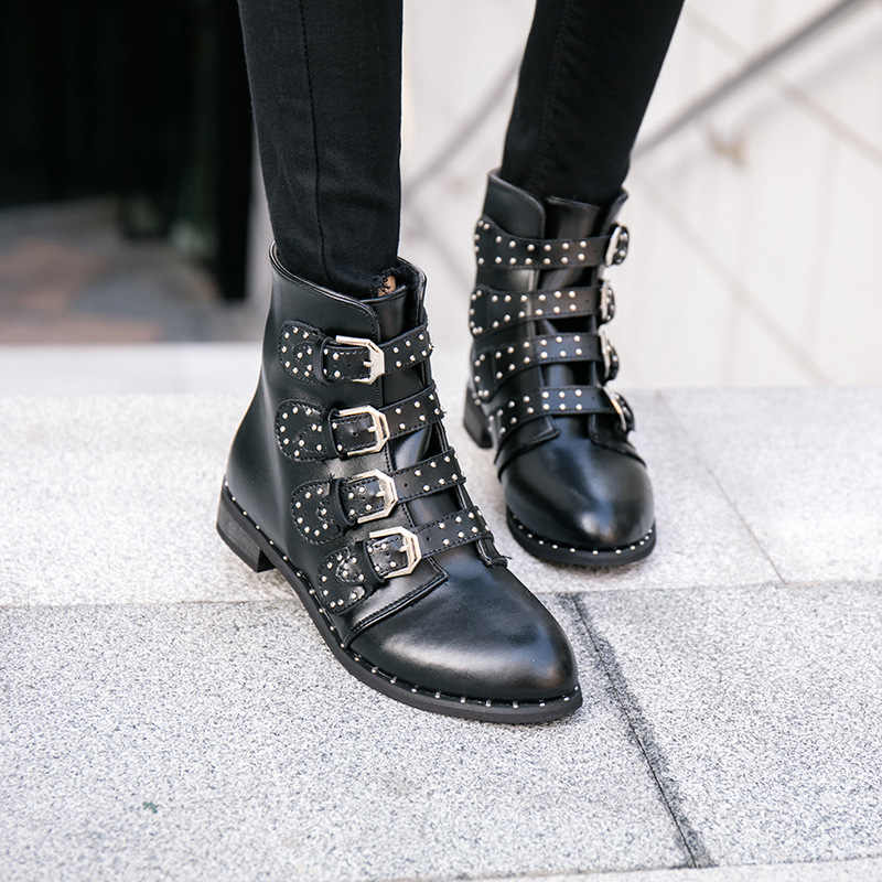 Фирменный дизайн, женские мотоциклетные ботинки «Челси» с металлической пряжкой, женские ботинки martin с острым носком, пряжкой и заклепками, Размеры 35-43