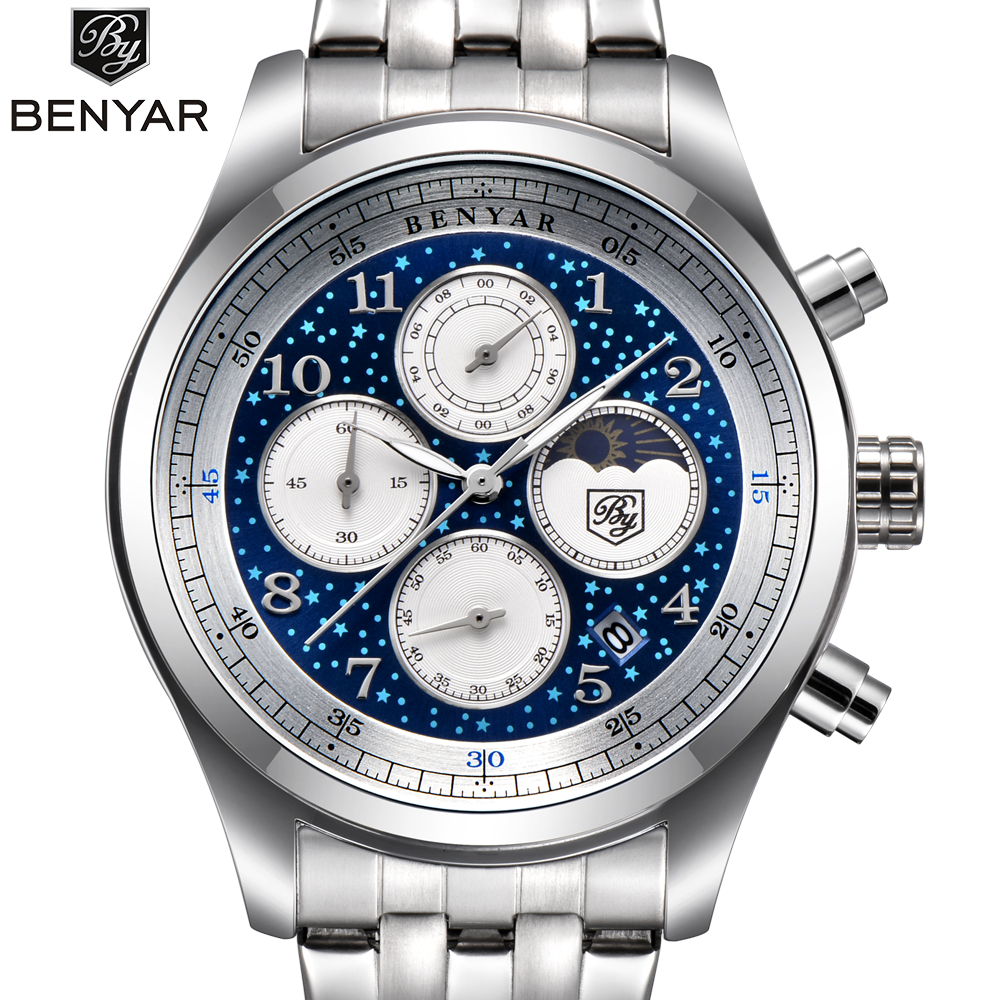 Benyar Quartz Wrist Watch Men Luxury Stainless Steel Classic Blue Star Dial Calendar Male Chronograph Analog Clock Men's Watches super speed v0169 fashionable silicone band men s quartz analog wrist watch blue 1 x lr626