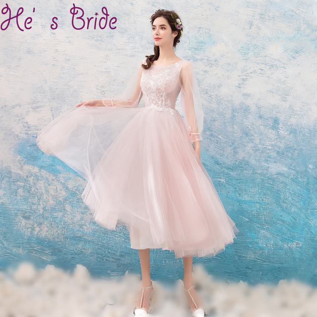 Evening Dress Sweet Pink Scoop Neck Poet Long Sleeves Lace Up A Line ...
